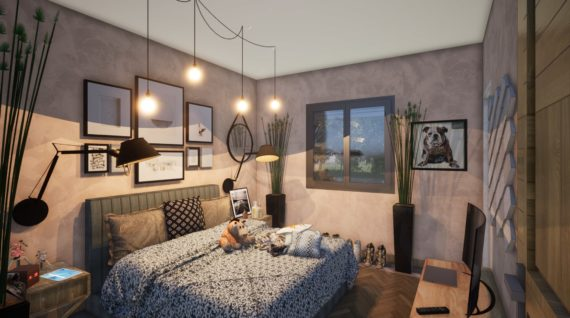 Chambre parentale d'une maison modélisée en 3D