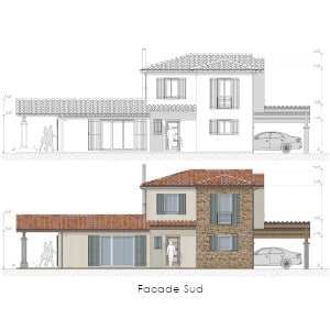 PCMI 5 Plan de façade sud d'une maison