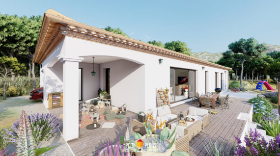 Terrasse couverte maison plain-pied