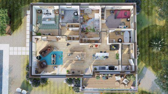 Plans 3D Maison de plain-pied