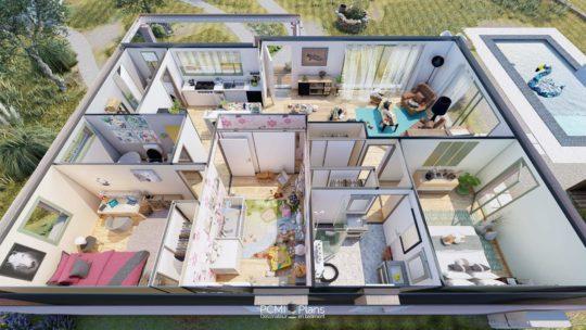 Axonométrie d'une maison en3D