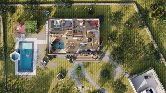 Plans 3D maison et terrain