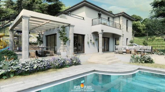 Piscine terrasse maison moderne