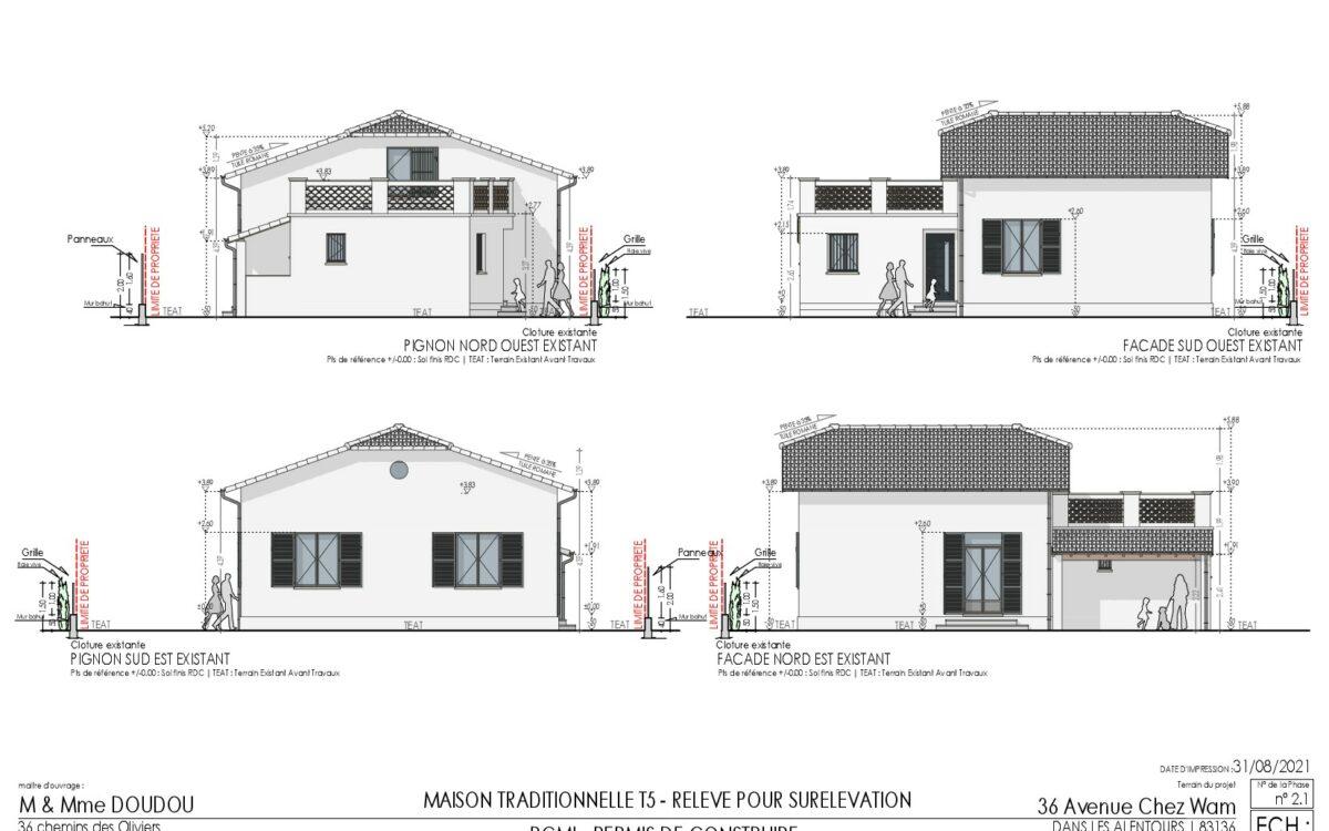 PCMI 5 Plans de facades Maison traditionnelle