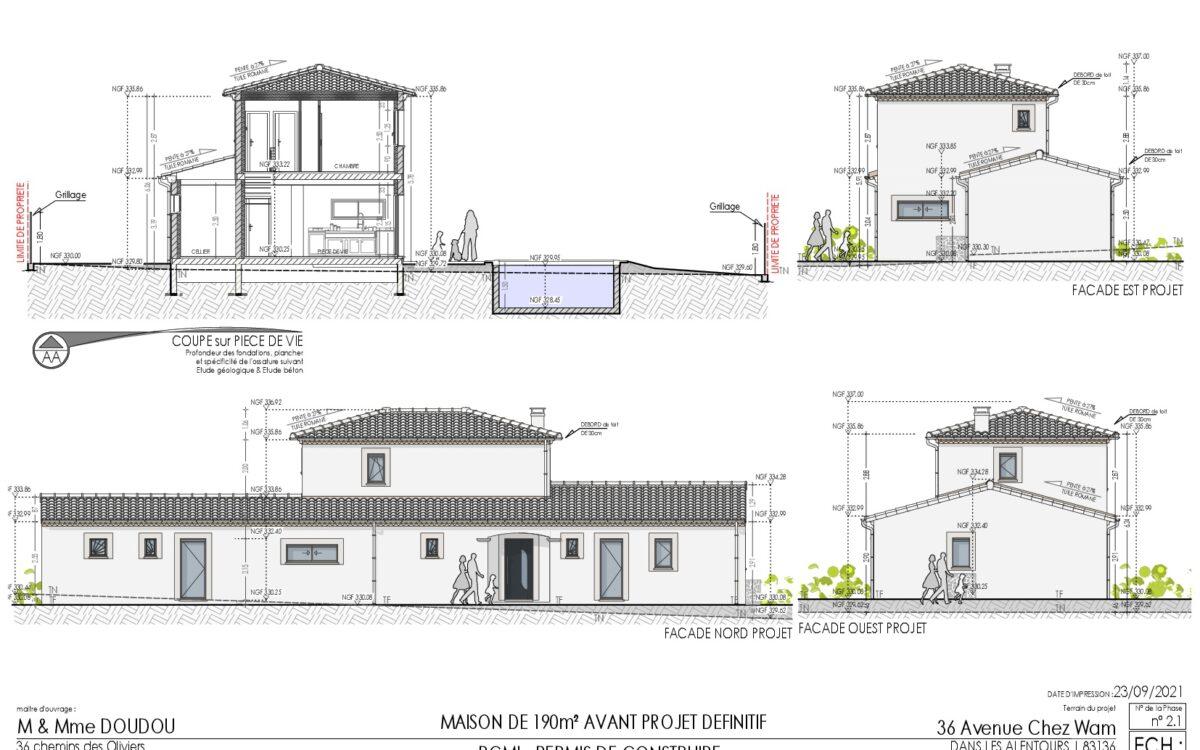 Permis de construire Maison T7 de 190m