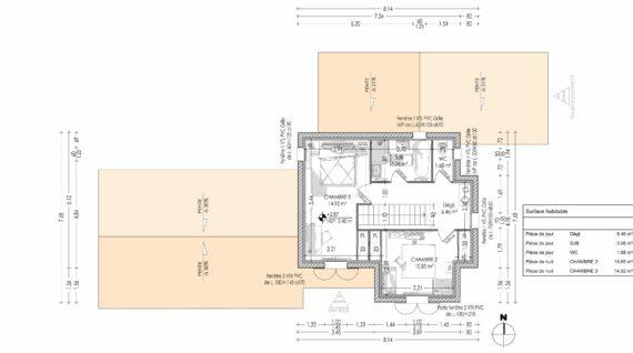 Plan de l'étage d'une maison