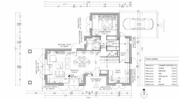 Plan de rez de chaussée d'une maison individuelle