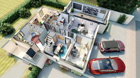 Plans 3D Aménagement bureaux